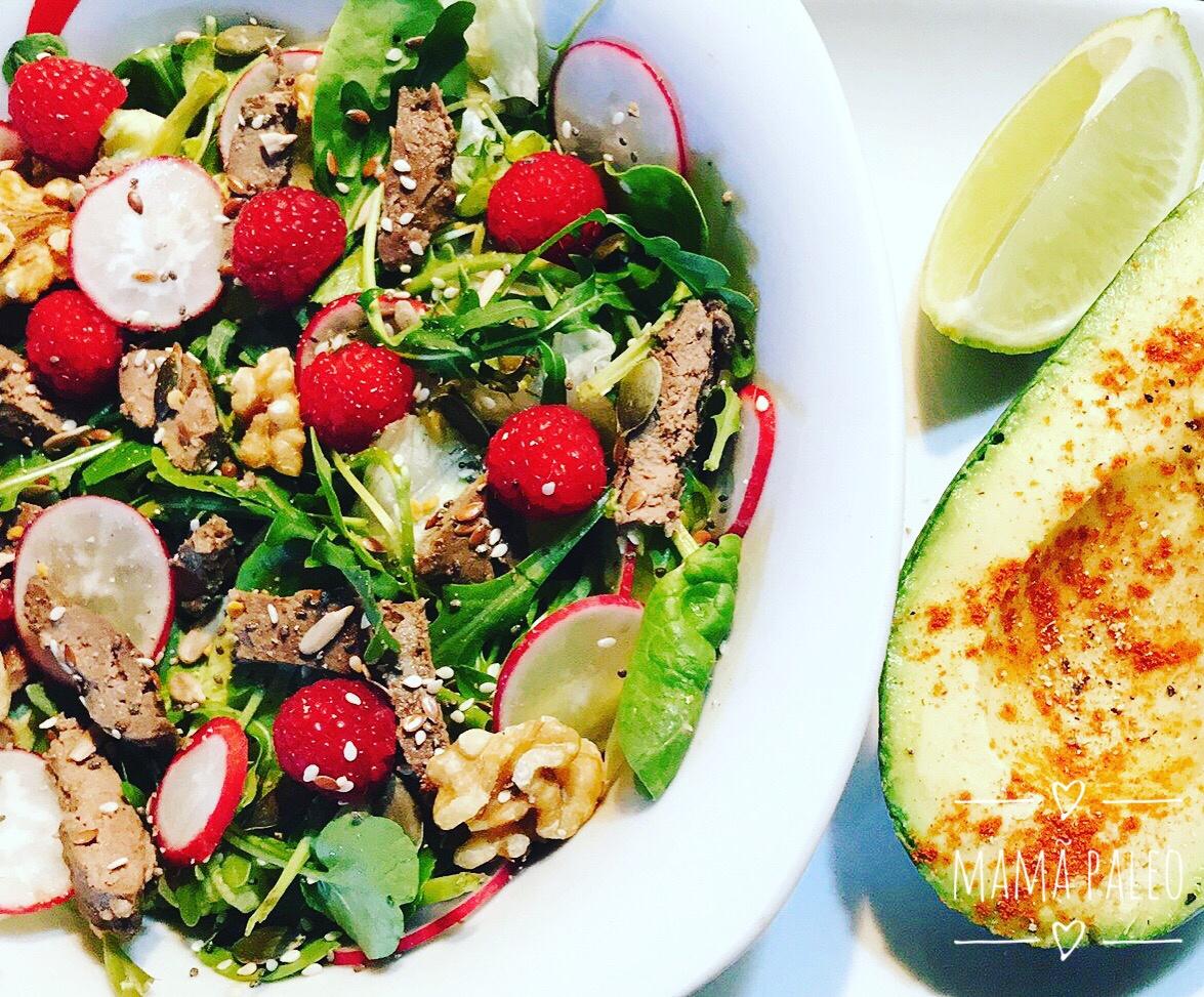 Salada de Fígado e Framboesas