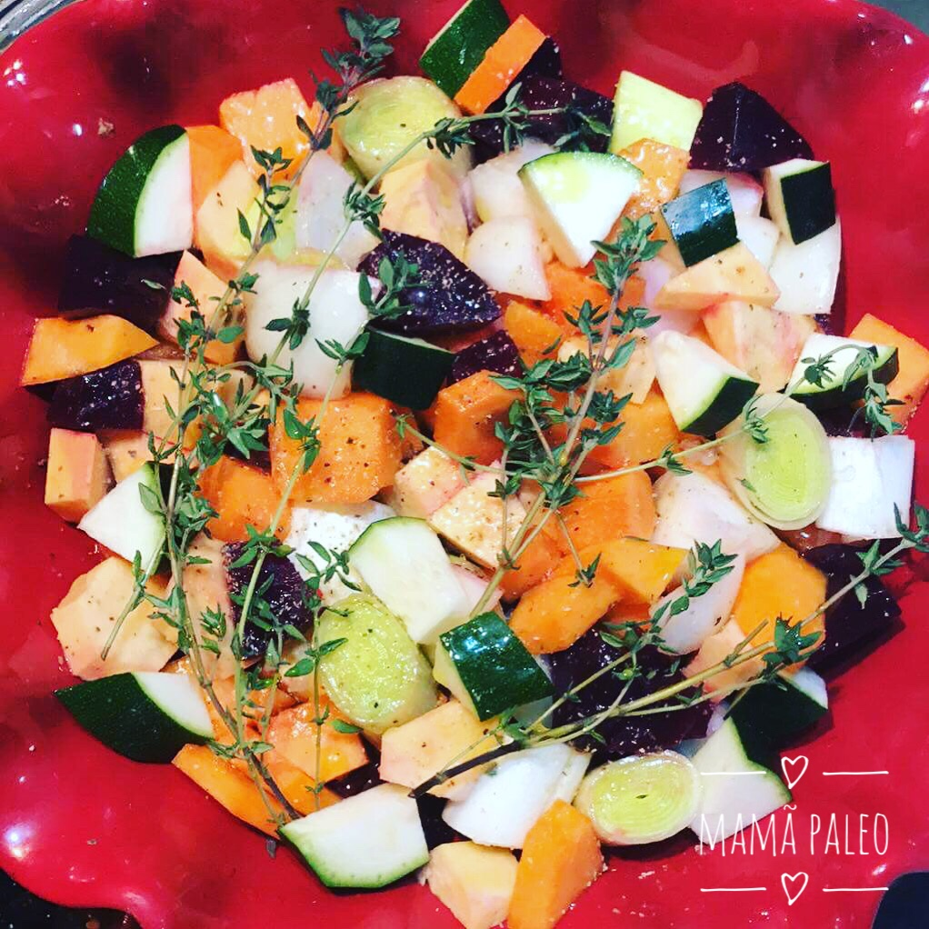Vegetais no Forno com Tomilho – Paleo, Vegan, Sem Glúten, Sem Lacticínios