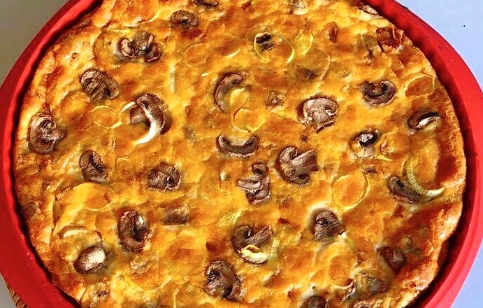 Quiche de Frango e Cogumelos – Low Carb, Sem Glúten, Sem Lacticínios