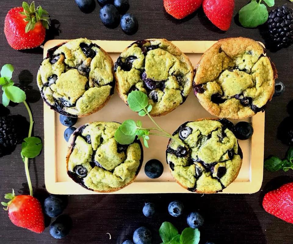 Muffins de Mirtilos – Sem Glúten, Sem Lacticínios