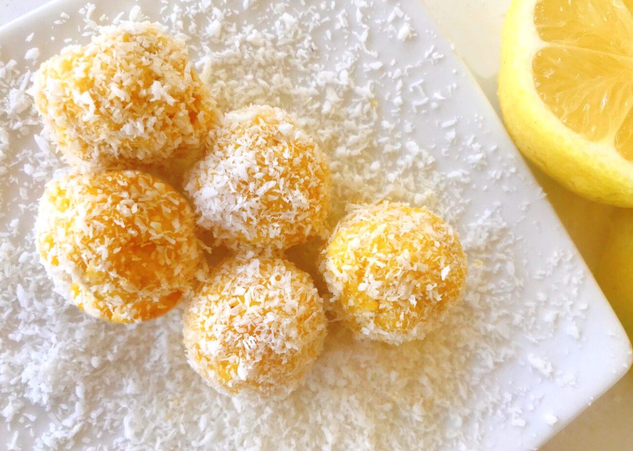Bolinhas de Coco e Limão em 5 Min – Low Carb, Sem Glúten e Lacticínios