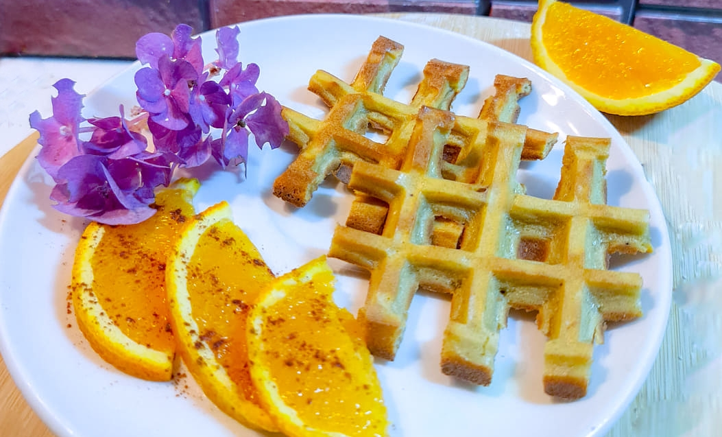 Waffles de Banana e Laranja – Sem Glúten, Sem Lacticínios