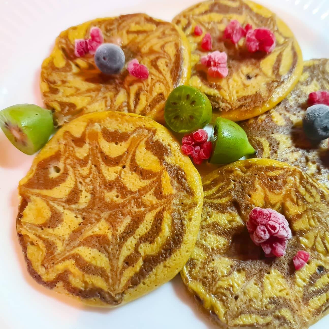 Panquecas Mármore de Laranja e Chocolate – Low Carb, Sem Glúten